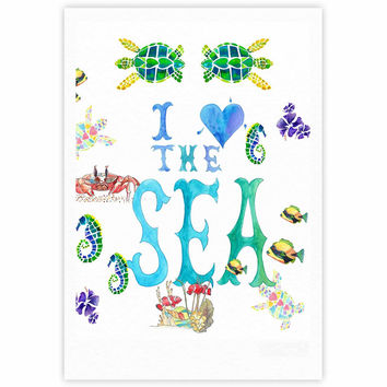 "Catherine Holcombe ""I Love The Sea"" Ocean Typography Fine Art Gallery Print"