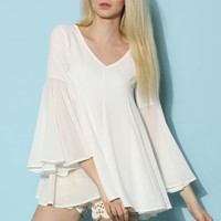 Billowy White Bell-Sleeve Flare Top