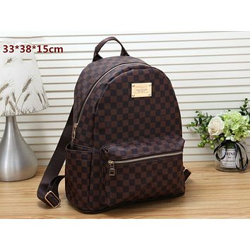 LV classic old flower checkerboard men and women backpack travel bag Coffee check