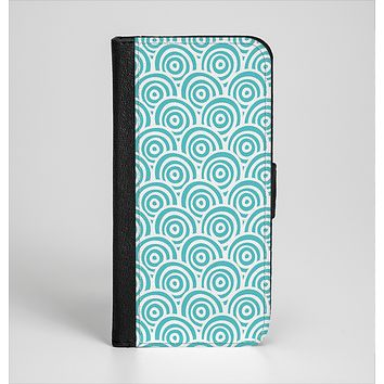 The Tiffany Blue & White Swirls Ink-Fuzed Leather Folding Wallet Case for the iPhone 6/6s, 6/6s Plus, 5/5s and 5c