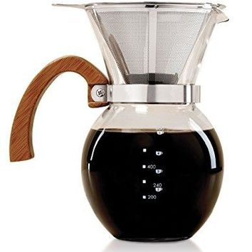 HIC Pour-Over Coffee Maker Borosilicate Glass with Bamboo Handle Stainless Steel Filter, 22 oz
