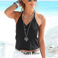 2016 Summer Women Sexy Tops Fashion Halter Button V Neck Back Lace Vest Black White Cropped Blusas Beach Casual Tank Tops