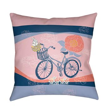 Doodle Pillow Cover - Pale Pink, Saffron, Bright Blue, Coral, Dark Blue - DO005