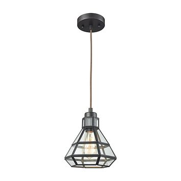 Window Pane 1 Light Pendant In Oil Rubbed Bronze With Clear Glass