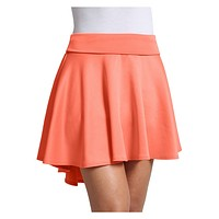 High Waisted High Low Stretchy Skater Skirt (CLEARANCE) (CLEARANCE)