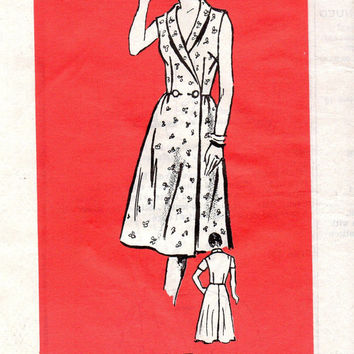 Retro Housedress Wrap Kitchen Apron Dress Double Breast Shawl Collar Parade Vintage Sewing Pattern Bust 34 Uncut FF