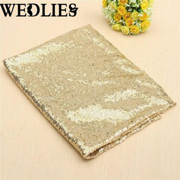 Sparkly Gold Champagne Sequin Glamorous Cloth Fabric or Tablecloth For Event Table for DIY Craft Materials 128 x 115 cm
