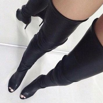 Open Toe Over The Knee Boots Black Leather Zipper Back High Heel Boots