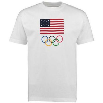 Licensed Sports USA Olympics Flag Five Rings T-Shirt - White KO_20_2