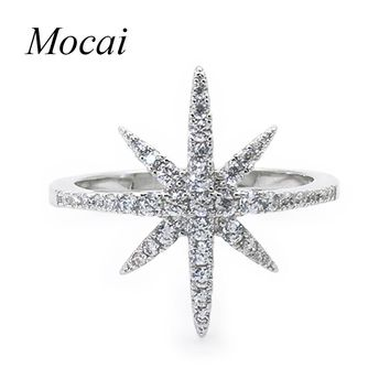 Europe Fashion Star Ring Famous Brand Zircon Big David Stars Silver Color Micro Insert Crystal Rings For Lady ZK20