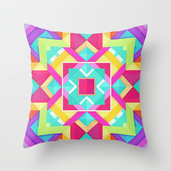 Geometric Mandala Multi Color Throw Pillow by AEJ Design
