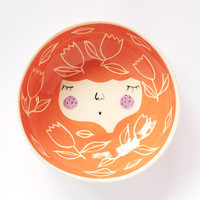 Orange ceramic serving bowl with character - face illustrated ceramic bowl - MADE TO ORDER