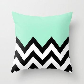 Mint Green Colorblock Chevron Throw Pillow By Nataliesales | Society6