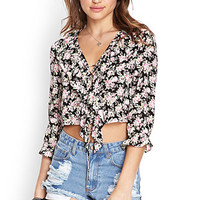FOREVER 21 Floral Print Lace-Up Top Black/Pink Large