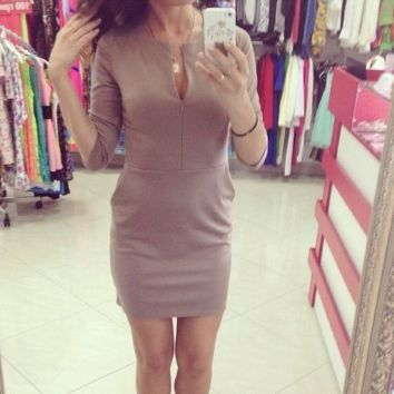 Round Split Neck Three Quarter Sleeves Sheath Dress With Pockets