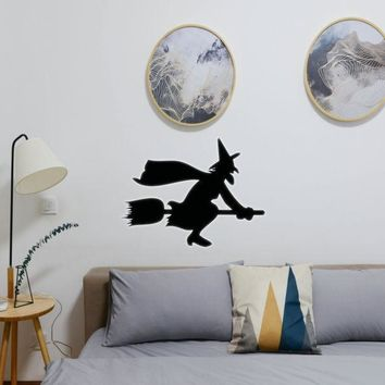 Halloween Witch Riding Broom 03 Vinyl Wall Decal - Removable (Indoor)