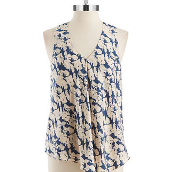 Dknyc Drape Front Patterned Blouse