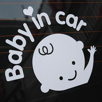 Car Stickers and Decals 16.7*12.7CM On Rear Windshield Decoration Silver Auto Motorcycle Sticker Baby in Car Car Styling