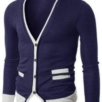 Doublju Mens Sweater Cardigan with Pocket Detail NAVY (US-L)