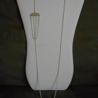 36 inch long White Necklace, asymmetrical style, chandelier detailing