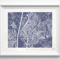 Seville, Sevilla, Spain, Print, Map, Poster, State, City, Street Map, Art, Decor, Town, Illustration, Room, Wall Art, Customize, Living Room
