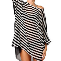 Stripes See Through Chiffon One Piece Dress [4966115524]