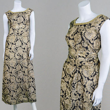 Vintage 60s Brocade Dress Black & Gold Evening Dress Evening Gown Gold Paisley 1960s Party Dress Cocktail Dress Lame Dress Bohemian Gown