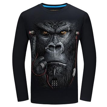3D T-shirt Mens Long sleeve Animal Tiger Wolf Lion Printed T-shirts Men Cotton Casual
