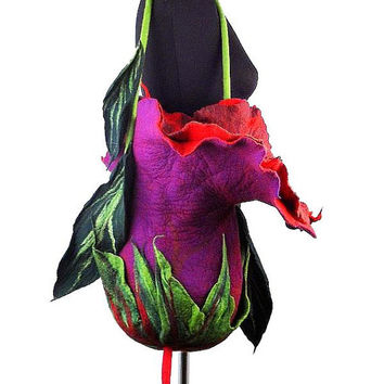 Felted Bag Handbag Purse wild Felt Nunofelt Nuno felt Silk fuschia ruby flower fairy floral fantasy shoulder bag Fiber Art boho