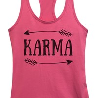 Womens Karma Grapahic Design Fitted Tank Top