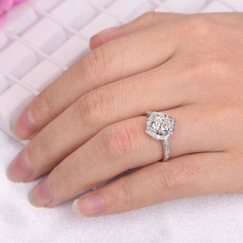 1.3ct Big Moissanite Engagement ring/With diamond in 14k white gold/Halo stacking/Bridal wedding ring/Cushion cut/Vintage Floral/Pave set