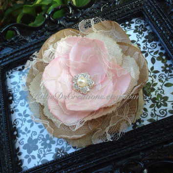 Blush Pink, Champagne and Linen Hair Flower / Blush Pink Flower Brooch