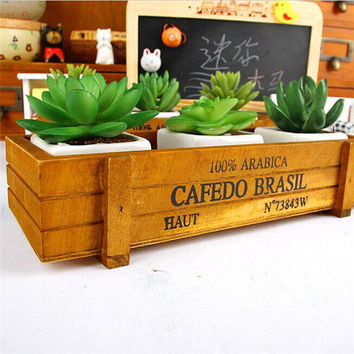 Vintage Wooden Boxes Crates Flower Pot Kitchen Trinket Desktop Storage Case Planter u61229 DROP SHIP