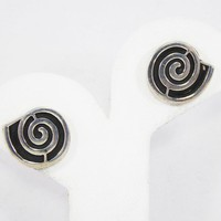 Retro Mod Spiral Earrings, Earring Posts for Pierced Ears, Black and Sterling Silver, Signed Mexico 925, Vintage 1980s 1990s Modernist