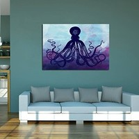 canik195 Canvas Print Artwork Stretched Gallery Wrapped Wall Art Painting sea octopus Size 26x38""