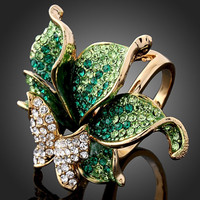 4 Colors Emerald Green Imitation Diamond Ring Butterfly Dragonfly Fashion Rings for Women Red,Purple,Gold (Dragon DFDR0051)