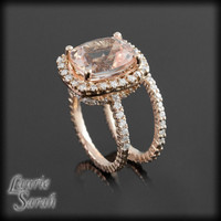 Rose Gold Morganite Engagement Ring Set with Prong Set Diamond Wedding Band - LS2724