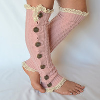 Leg warmers - pale pink cable knit slouchy open button down over the knee socks boot socks valentines day gifts