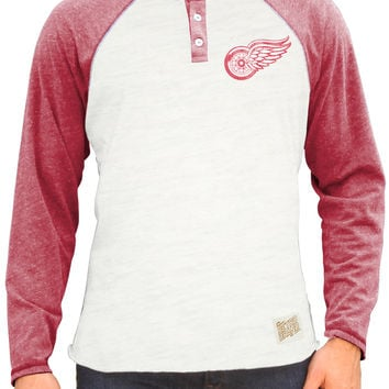 Original Retro Brand Detroit Red Wings Mens Triblend Raglan Henley Fashion - White/Red