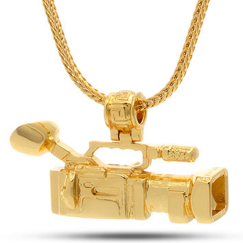 14K Gold Mounted Shoulder Camcorder Necklace