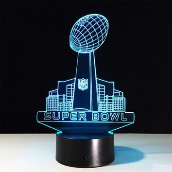 3D LED NFL Acrylic Lamp Panel Super Bowl Rugby Lights Colour Change Night Light Decor Touch Switch/Remote Control
