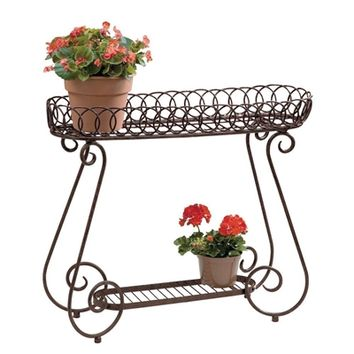 SheilaShrubs.com: Oval Rings 2 Shelf Plant Stand PL107 by Deer Park Ironworks: Plant Stands