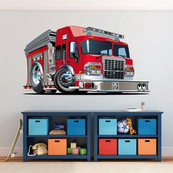 cik1544 Full Color Wall decal cool fire truck bedroom children's room