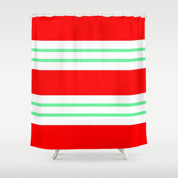 Red and Aqua Stripes Shower Curtain by Kat Mun