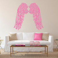 Wall Decal Vinyl Sticker Decals Art Decor Design Big Wings Angel God Guardian Bird Kids Children Nursery Bedroom Living Room (r1282)