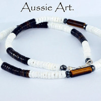 SN-016 Sterling Silver,Hematite,Tigers Eye Natural Shell Choker Men Necklace.