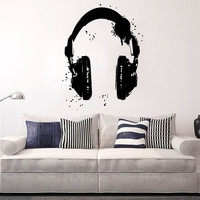 Wall Decal Vinyl Sticker Decals Art Decor Design Headphones Music Loud Electro DJ Rock Star Pattern Mans Gift Bedroom Dorm (r1341)
