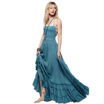 New Beach Dress Sexy Dresses Boho Bohemian Dress Summer Maxi Long Backless Cotton Women Party Hippie Chic Vestidos Mujer