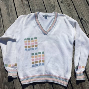 Vtg Men's Sweater - IZOD Club Golf Sweater - Hand Intarsia - Cotton - Pastel - SZ L