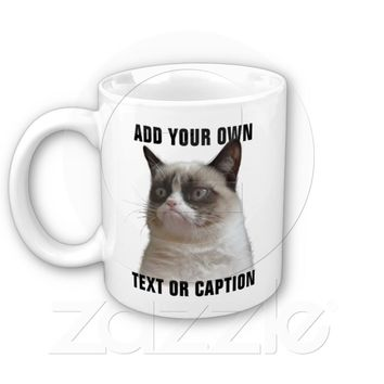 Grumpy Cat Glare - Add your own text Mugs from Zazzle.com